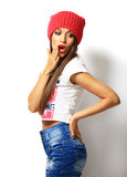 High fashion look.glamor stylish beautiful young woman model Royalty Free Stock Photography