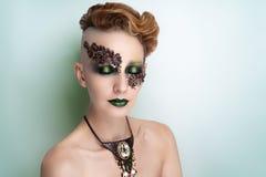 High fashion model art make up stock photography