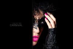 High Fashion Model in Creative Masquerade Eye Makeup Stock Image