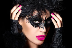 High Fashion Model in Creative Masquerade Eye Makeup Royalty Free Stock Photography