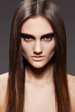 High fashion model. Evening make-up, straight hair Royalty Free Stock Photo