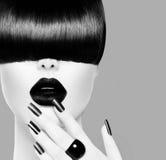 High Fashion Model Girl Portrait. High Fashion Black and White Model Girl Portrait Stock Photography