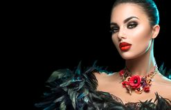 High Fashion Model Girl Portrait With Trendy Gothic Make-up, Black Hair Style, Make Up, Dark Accessories Over Black Background Royalty Free Stock Image