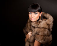 High fashion model wearing  fur vest Royalty Free Stock Images
