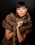 High fashion model wearing  fur vest Royalty Free Stock Photo