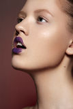 High fashion portrait of expression woman model with bright lips make-up, clean face Royalty Free Stock Photography