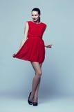 High fashion portrait of young elegant woman. Full-length portrait young elegant woman in red dress, fashion studio shot stock photo