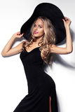 High fashion shot of blonde woman with curly hair Stock Images