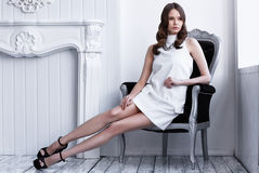Free High Fashion Shot Of Young Beautiful Woman In White Short Dress Stock Images - 77376044