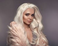 High Fashion Winter Style. Beautiful Blonde Woman In Faux Fur Co Royalty Free Stock Photos