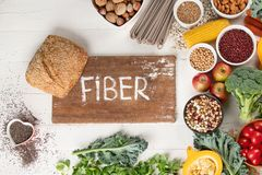 High Fiber Foods. Healthy balanced dieting concept. Top view stock image