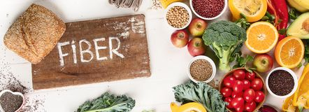 High Fiber Foods. Healthy balanced dieting concept. Top view royalty free stock photography
