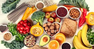 High Fiber Foods. Healthy balanced dieting concept. Top view stock photography