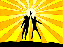 High Five. People giving a high five in front of the sun royalty free illustration