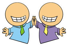High five. Two cartoon business characters giving each others high fives Royalty Free Stock Images