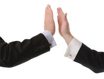 High Five. Two business men high five gestur isolated on a white background Stock Photo