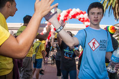 High Five at the End of AIDSwalk Royalty Free Stock Photography