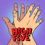 High five greeting white black hand stock illustration