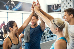 High five at gym. Smiling men and women doing high five in gym. Group of young people making high five gesture in gym after workout. Happy successful fitness stock photo