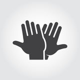 High five icon. Black flat pictograph of clapping hands - greeting, welcoming, celebrating symbol of successful people. High five icon. Black flat pictograph of vector illustration
