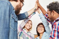 High Five with successful business team. Members as motivation Royalty Free Stock Photos