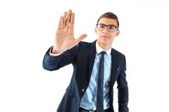 High five! a successful businessman in spectacles and suit point royalty free stock image