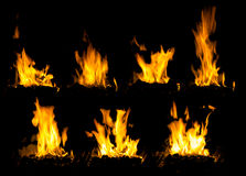 High flame burning wood in stoves Stock Photos
