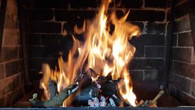 High flame burns in the fireplace. Burning branches and firewood stock video footage
