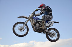High flight of motorcycle racer on a motorcycle Royalty Free Stock Photos