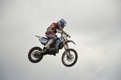 High flight of motorcycle racer on a motorcycle Stock Images