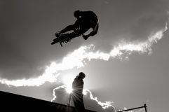 High Flying. Bmx rider flying high on a vert ramp Stock Image