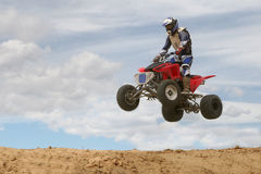 High Flying Motorcyclew Royalty Free Stock Photos