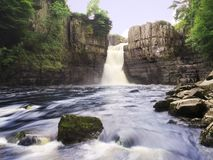 High Force. Water fall on the River Tees stock photos