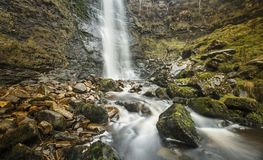 High Force Waterfall Force Gill on the slopes of Whernside, Whernside, North Yorkshire, UK - 10th November 2017. High Force Waterfall Force Gill by the slopes of royalty free stock image