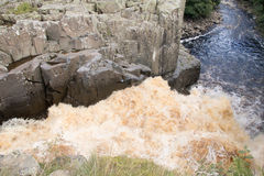 High Force Waterfall. Looking down from the top of High Force waterfall, Teesdale, County Durham Stock Photos