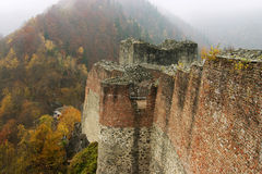 High fortress. Forest View from Poenari Castle the original Vlad Tepes (Dracula) headquarter Royalty Free Stock Photos