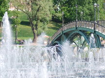 High fountain in moscow city park Royalty Free Stock Photo
