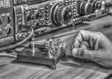 High frequency radio amateur transceiver in black and white. Modern high frequency radio amateur transceiver in black and white stock image