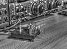 High frequency radio amateur transceiver in black and white. Modern high frequency radio amateur transceiver in black and white stock photo