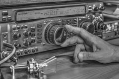 High frequency radio amateur transceiver in black and white. Modern high frequency radio amateur transceiver in black and white royalty free stock image