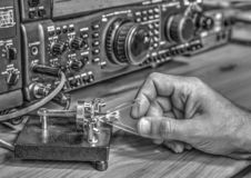 High frequency radio amateur transceiver in black and white. Modern high frequency radio amateur transceiver in black and white stock photography