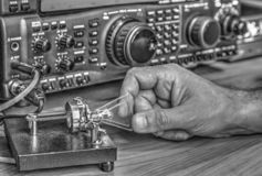 High frequency radio amateur transceiver in black and white. Modern high frequency radio amateur transceiver in black and white royalty free stock photo