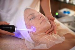 High Frequency. Skin treatment at the spa Royalty Free Stock Photography