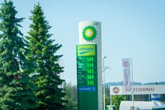 High fuel prices in Poland. Price list of gas station BP. 28 May 2018, route `Zakopianka`, Poland royalty free stock photography