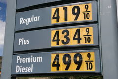 High Gas Price. Gas and Diesel prices keep going up. Diesel hits 5 dollars a gallon stock image