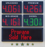 High gas prices. A sign showing high gas prices over 4 dollars a gallon royalty free stock photography