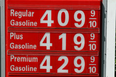 High Gas Prices. Sign showing High Gas Prices in America Stock Photos