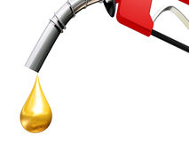 High Gas Prices. Gasoline represented as a drop of gold Royalty Free Stock Photography
