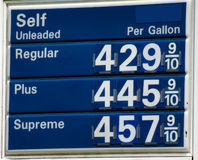 High Gas Prices. Above four dollars per gallon in the United States stock image