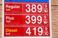 High gas prices. Red sign showing rising gas prices Royalty Free Stock Photography